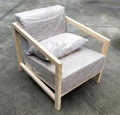 榆木沙发,麻布海绵垫,一人位