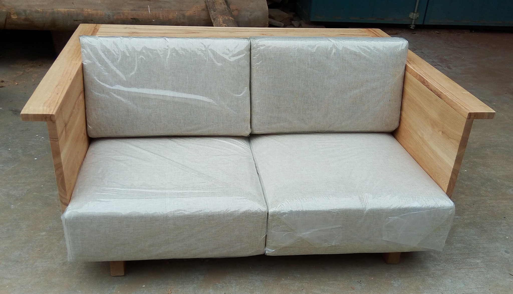solid elm wood sofa with fabric cushion 1