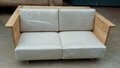 solid elm wood sofa with fabric cushion