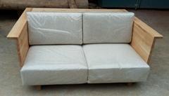 榆木沙发带布垫