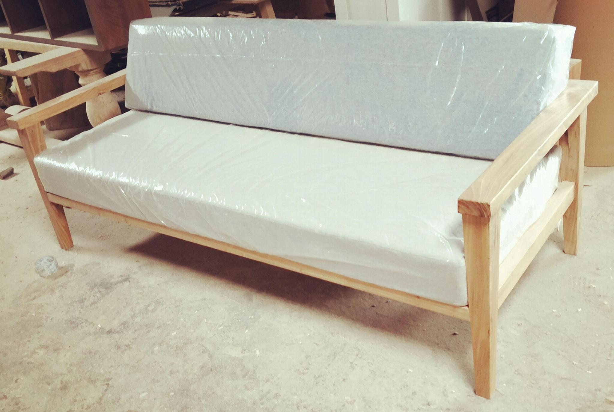 榆木沙发,带麻布座垫 1