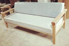 榆木沙發,帶麻布座墊