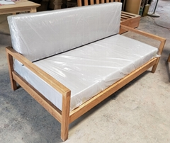 橡木沙发,麻布垫,3人位