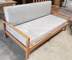 橡木沙發,麻布墊,3人位