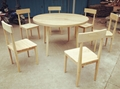 ash wood table with 6 chairs
