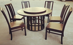 ash wood round dining table and chair