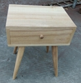 ash wood side table, 1 drawer