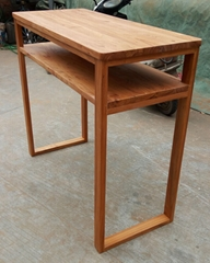 elm wood console table with a shelf