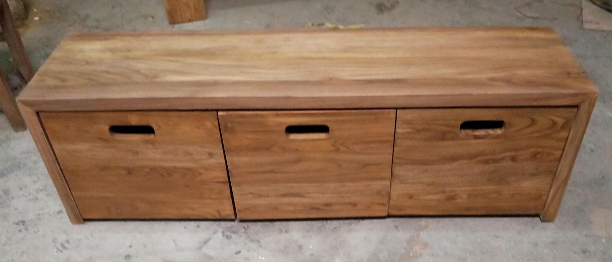 榆木長凳,下配3個可移動鞋盒 1