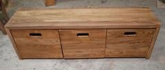 榆木长凳,下配3个可移动鞋盒