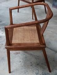 walnut wood chair with rattan