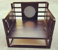 新中式单人沙发,带座垫