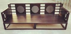 新中式白蠟木三人沙發,含座墊