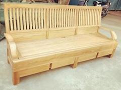 新中式白蜡木三人沙发,含座垫