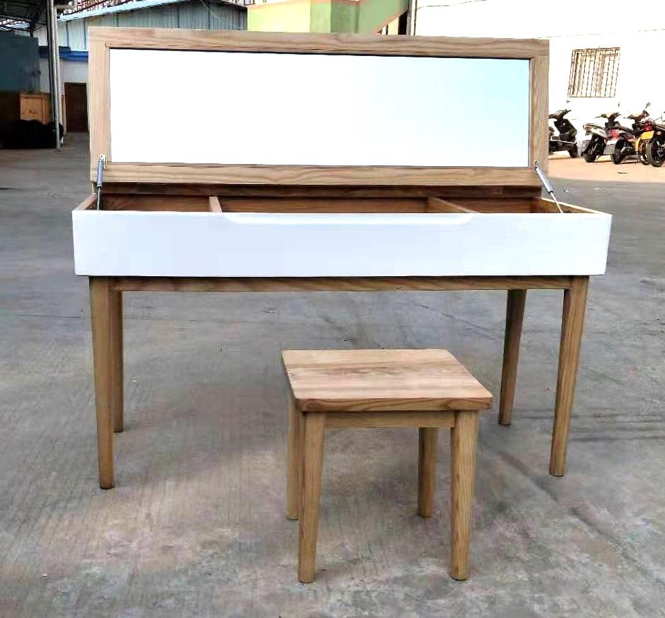 solid ashwood dressing table with a stool 1