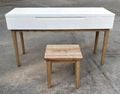 solid ashwood dressing table with a stool 2
