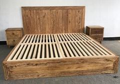 老門板風化傢具,床,床頭櫃