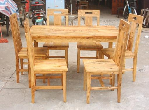 風化榆木餐台餐椅 1