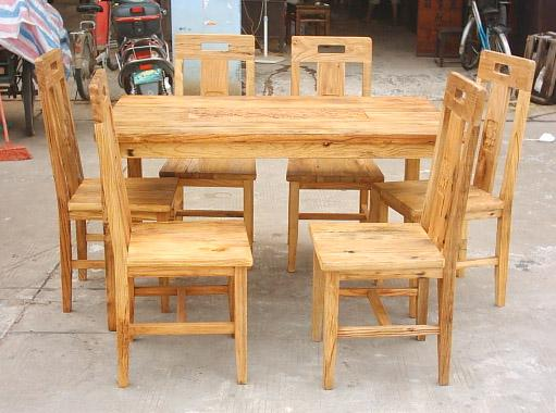 rustic looking recycled elm dining table set 1