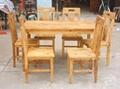 风化榆木餐台餐椅