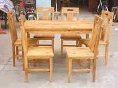 風化榆木餐台餐椅