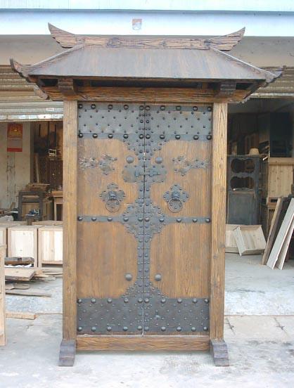 风化榆木户外家具,院子大门 1