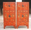 antique reproduction cabinet with drawing