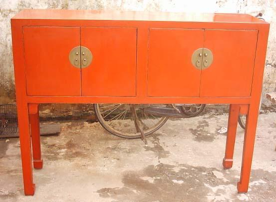antique reproduction side board red