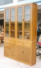 老榆木玻璃门书柜