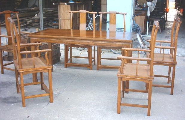 榆木餐台餐椅 1