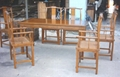 solid elm wood dining table set,6 armchairs 1