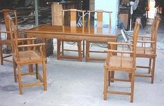 榆木餐台餐椅