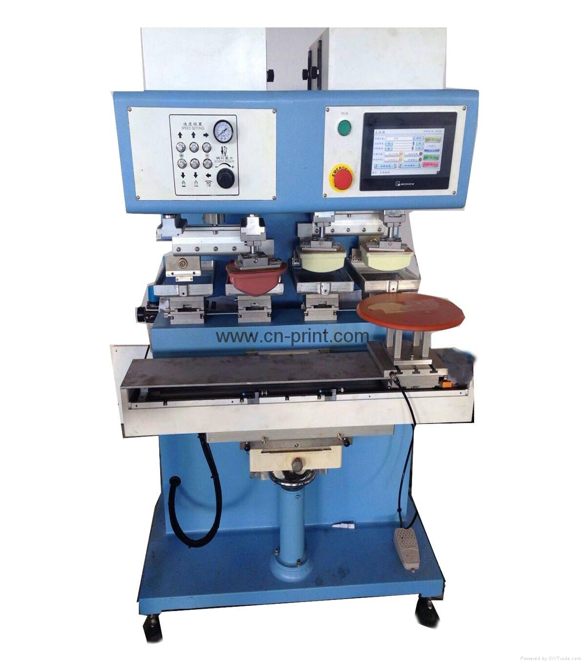 PLC 4-color open ink well pad printing machine with shuttle
