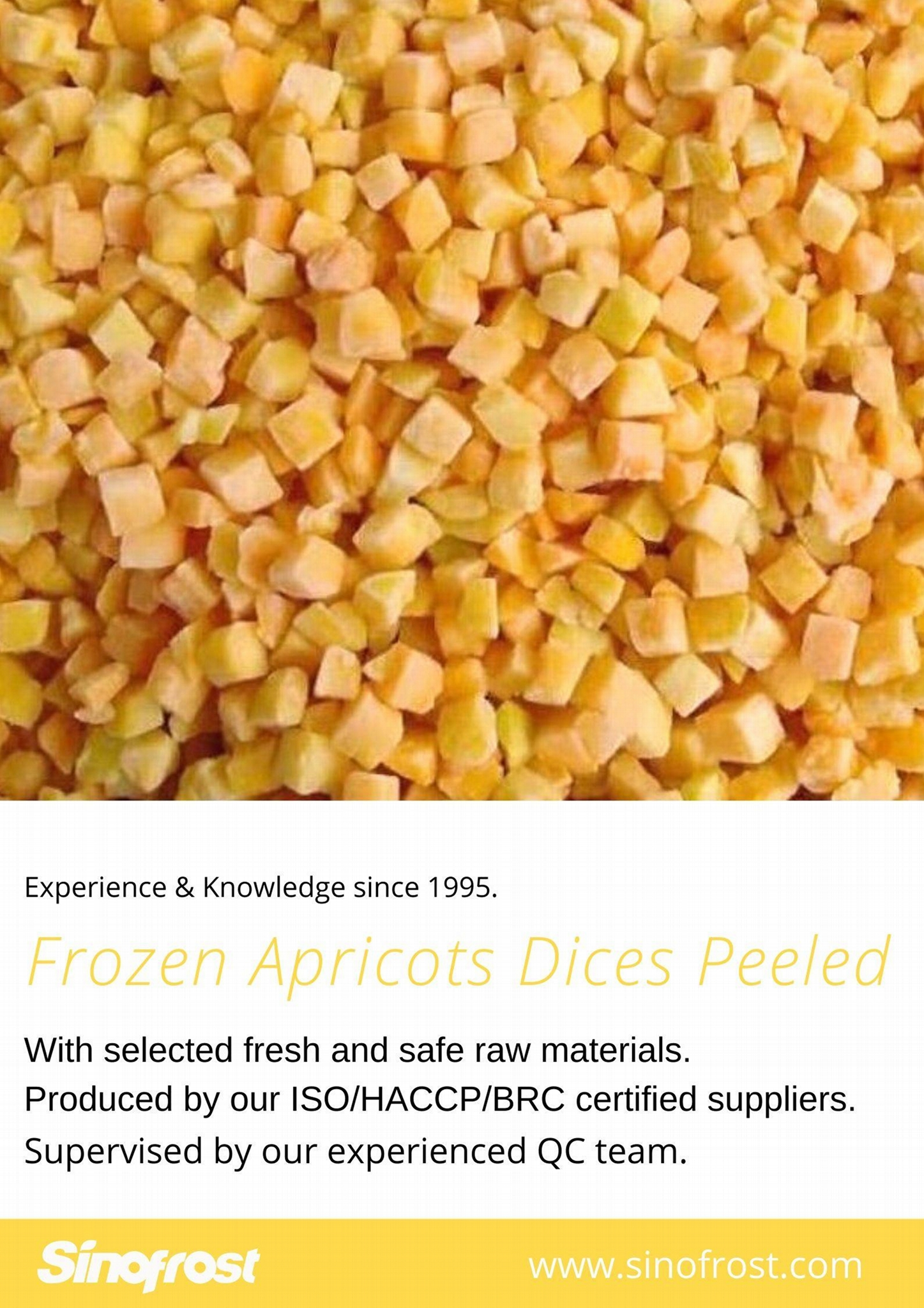 IQF Apricot Dices,IQF Diced Apricots,Frozen Apricots Cubes,without peel,b 18