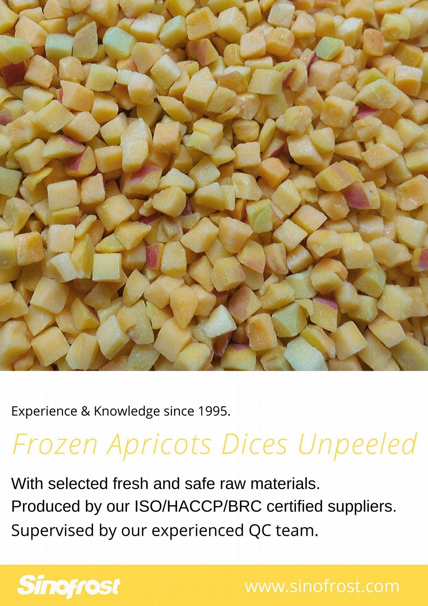 IQF Apricot Dices,IQF Diced Apricots,Frozen Apricots Cubes,without peel,b 20