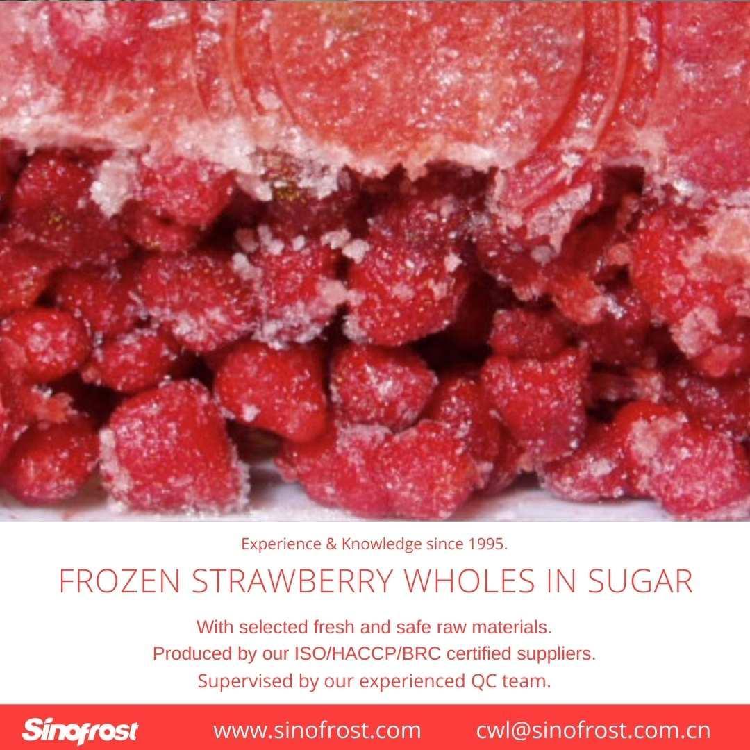 Frozen Strawberries in Sugar ,Frozen Strawberries with Sugar,slices/wholes 20