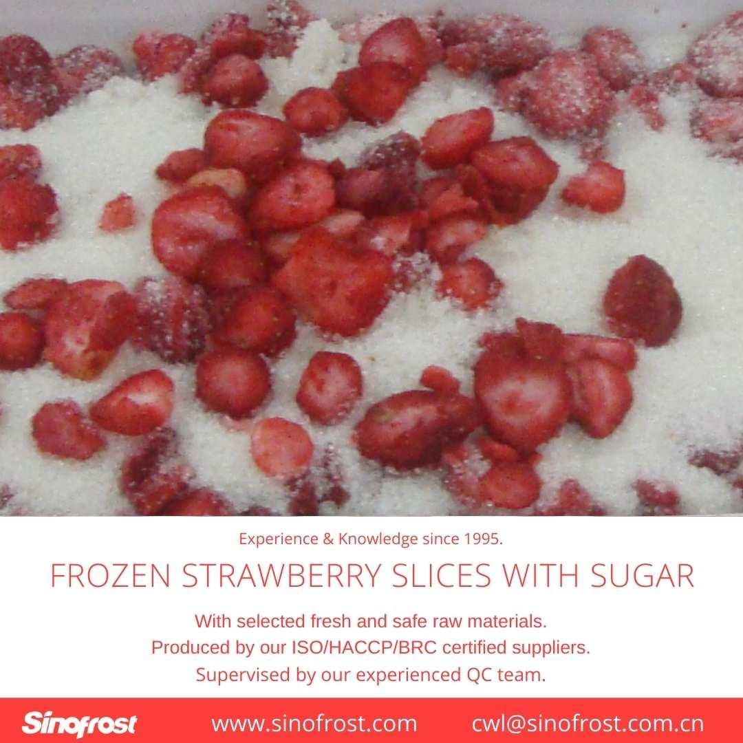 Frozen Strawberries in Sugar ,Frozen Strawberries with Sugar,slices/wholes 12