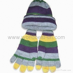 100% Acrylic Knitted Scarves,Gloves and Caps