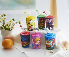 Children lovely plastic cup with lenticular effect