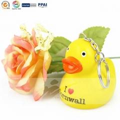Custom design pvc duck keyring