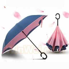Windproof Self-standing C Handle Umbrella Reverse