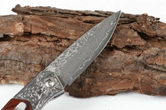 Damascus blade wood handle pocket knives