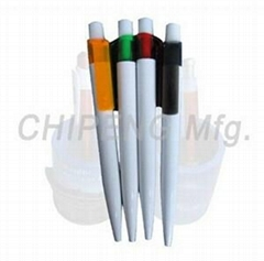 Plastic ball pen with white barrel,colorful clip