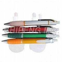 Plastic ball pen with colorful grip