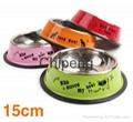 Multicolored stainless steel paint cartoon printing pet food basin dog bowl  6