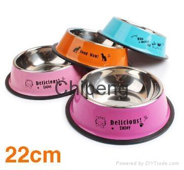 Multicolored stainless steel paint cartoon printing pet food basin dog bowl  5