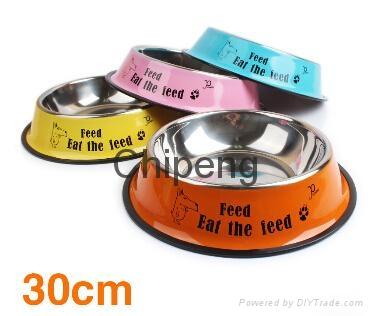 Multicolored stainless steel paint cartoon printing pet food basin dog bowl  4