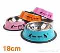 Multicolored stainless steel paint cartoon printing pet food basin dog bowl