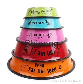 Multicolored stainless steel paint cartoon printing pet food basin dog bowl  1