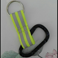 Carabiner to reflective stripe strap